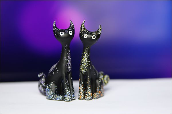 котики акрил кот кошка sculpey ночь черный