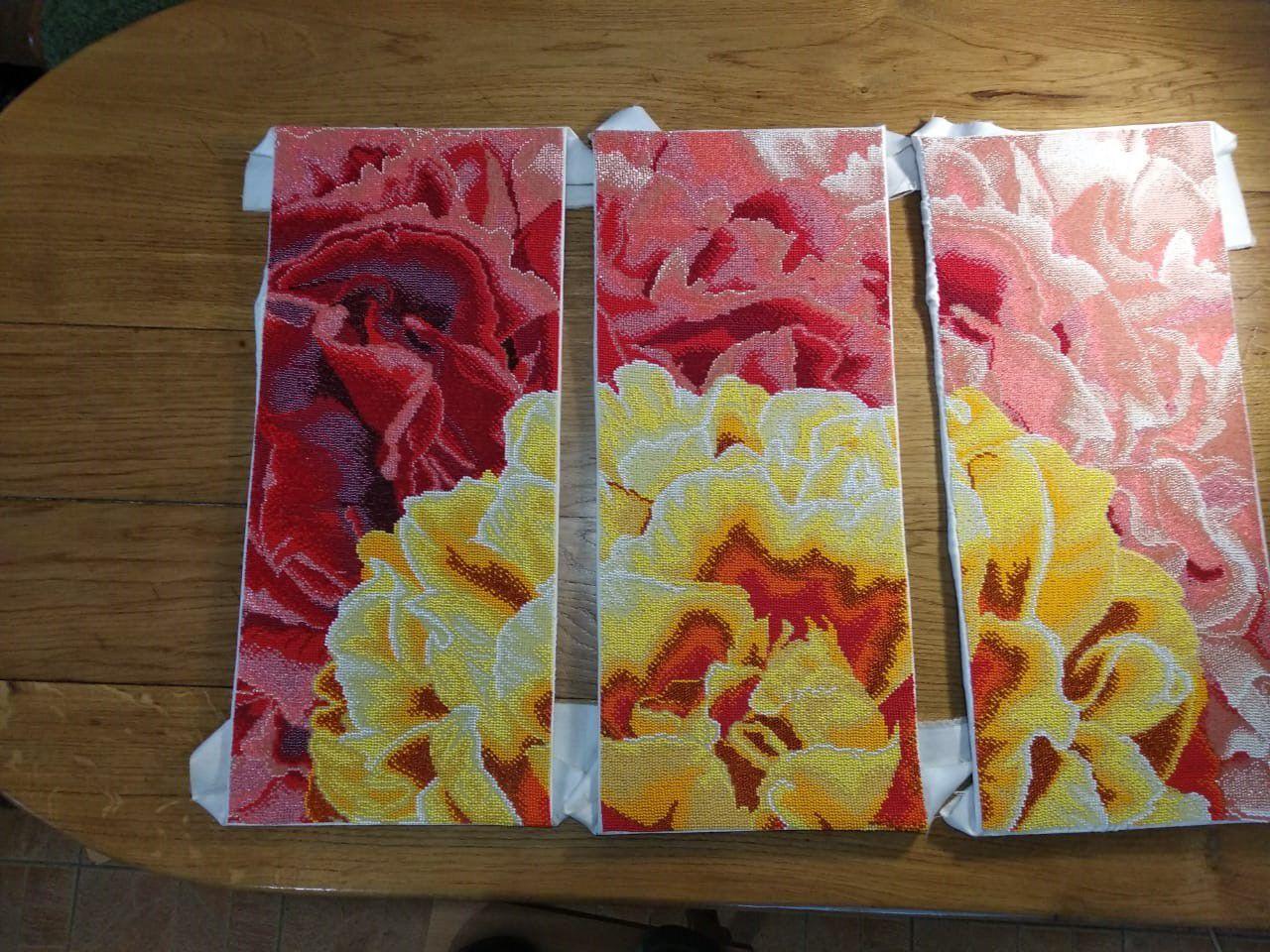 подарок бисер ручная вышивка пион цветы