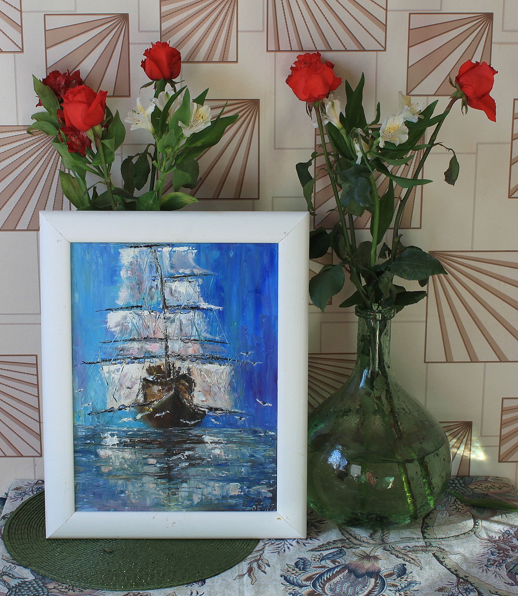 море картина масло корабль мастихин фрегат