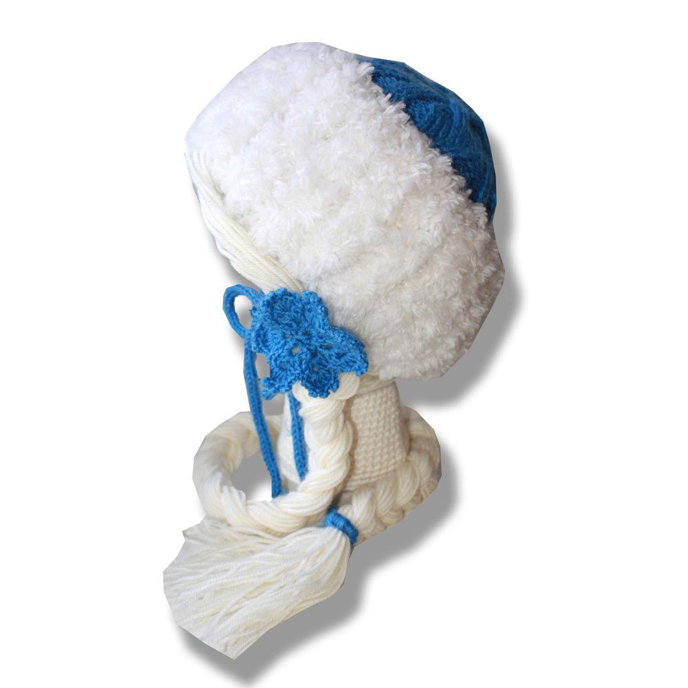 синяя голубая костюмы связанное спицами теплая девочке новогодняя связанные новогодний снежинка новый подарки аксессуары ручная снегурочка праздник детские шапки продажа купить новогодние шапочка работа белая год подарок