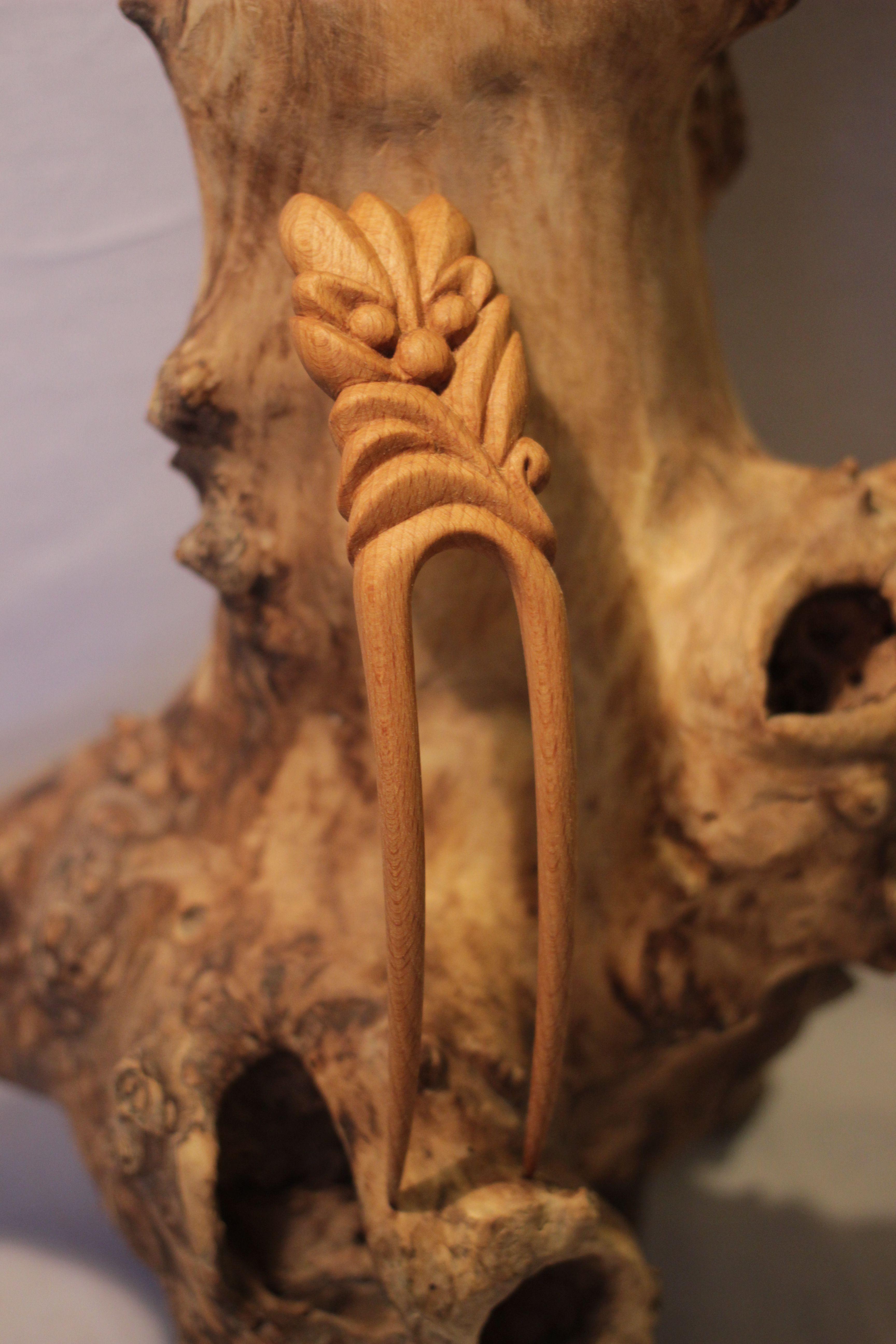 заколказаколка дереварезная заколкадля женщидля волосподарокукрашениедля девушекдереворезьба по из дереву