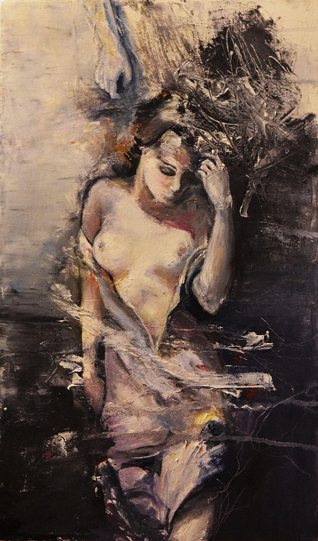 абстракция девушка холст живопись мастихин масло