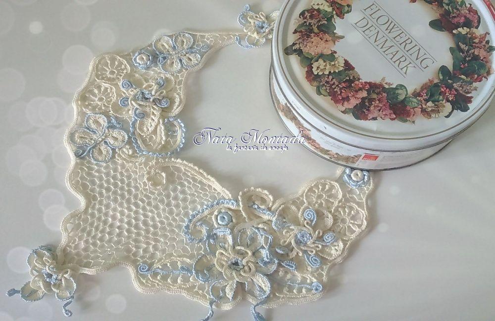 колье подарокдевушке авторское голубой эксклюзив воротничок кремовый стрекозы украшение цветы подарок