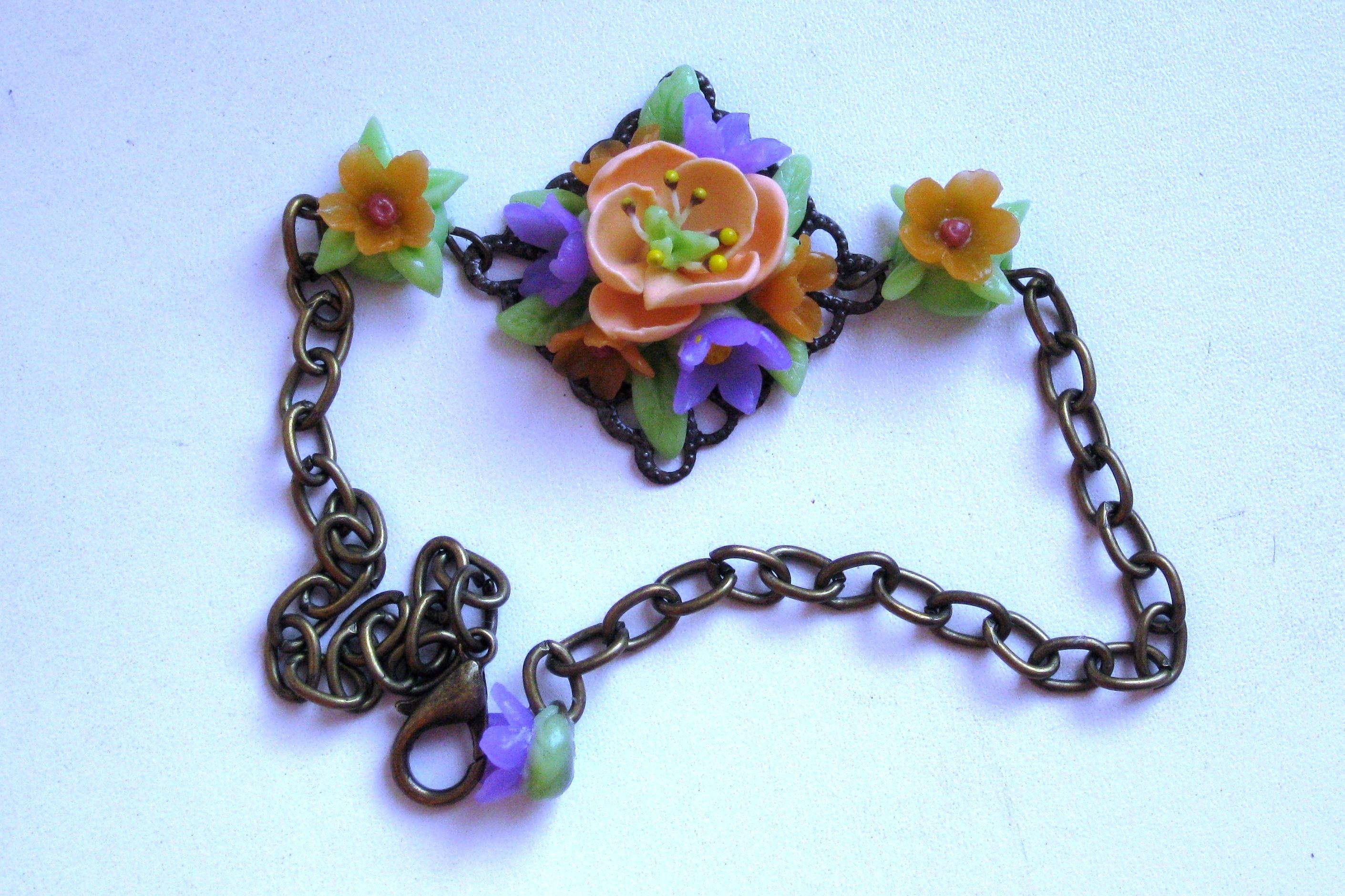 уникальныйподарок подарок браслет хендмейд handmade бронза цветы полимернаяглина творчество бижутерия