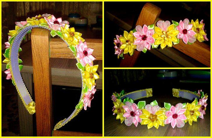 красивый ободок атлас обруч яркий детский канзаши летний цветы