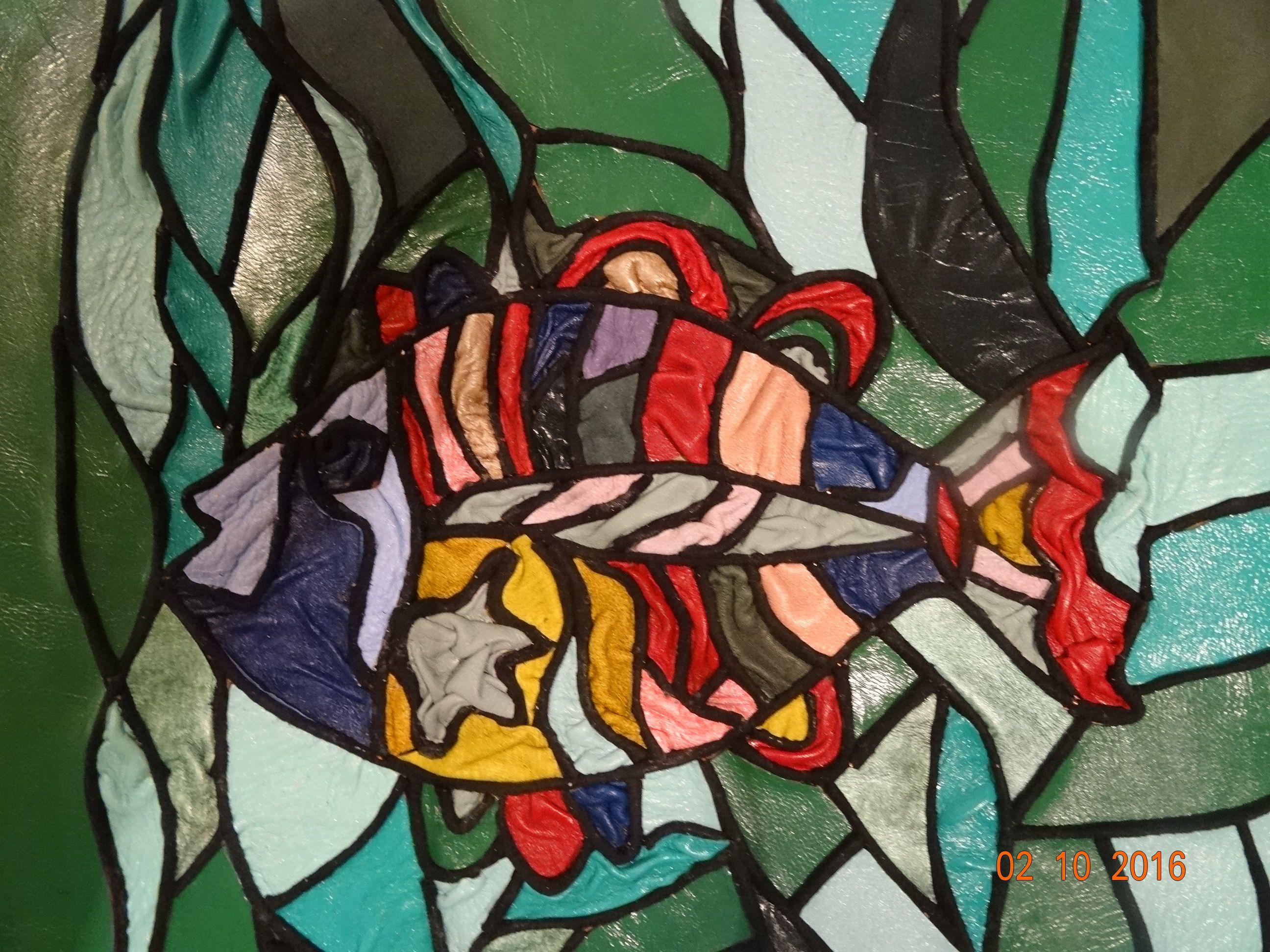 подводныймир картиныизкожи рыбы мозаикаизкожи