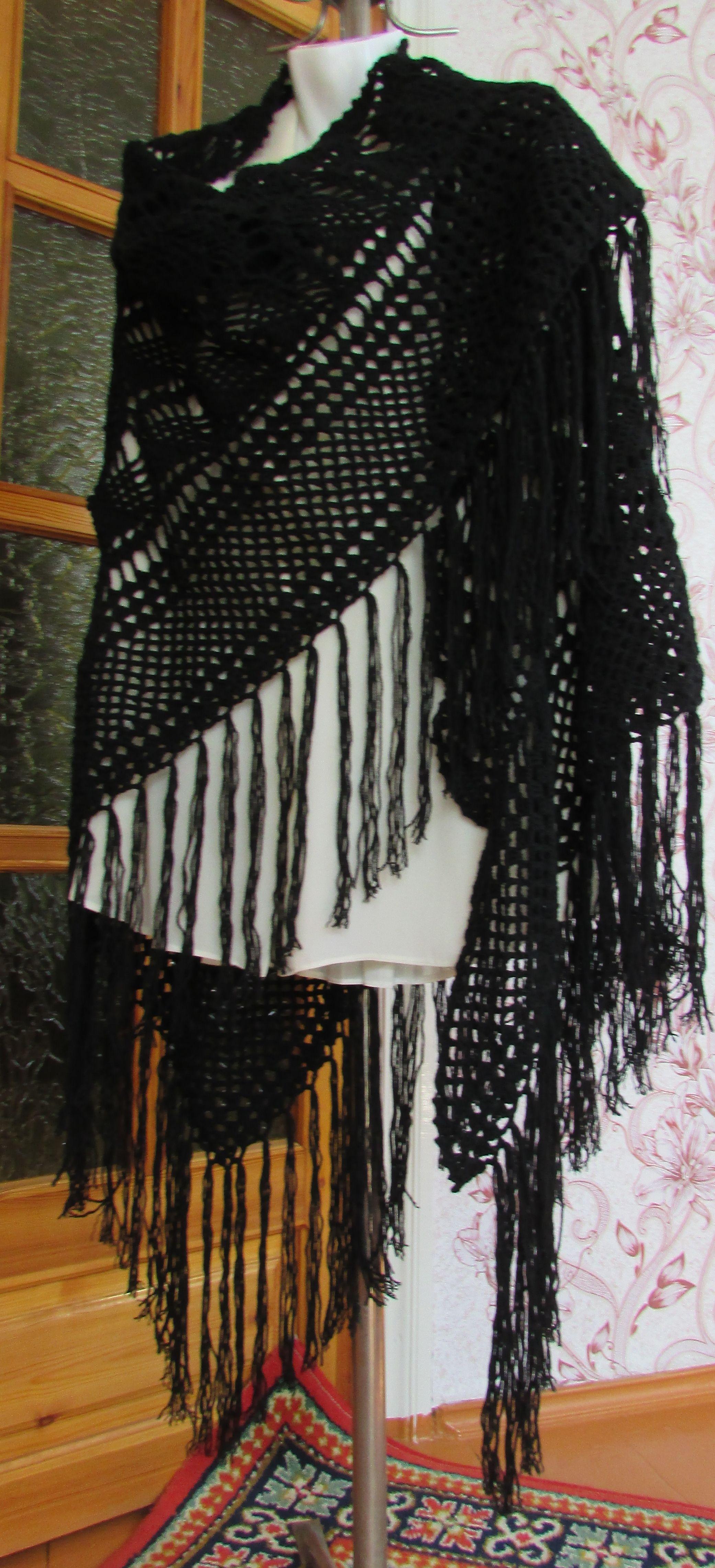 работычерная шальшальhandmade крючкомшалишаль ручной шаль