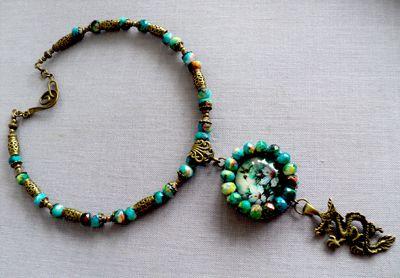 ожерелье колье украшение вышивка птица дракон подвеска колибри цветы бижутерия
