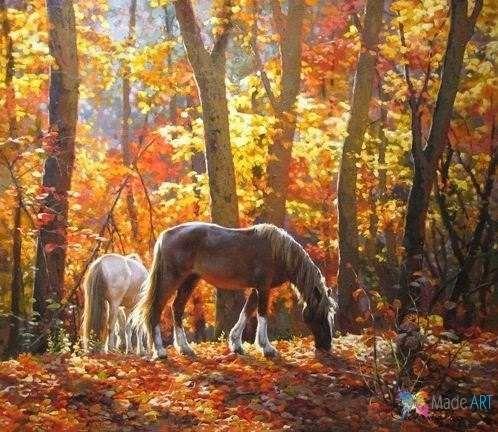 амаслом картин лошадки рисунки искусство современное