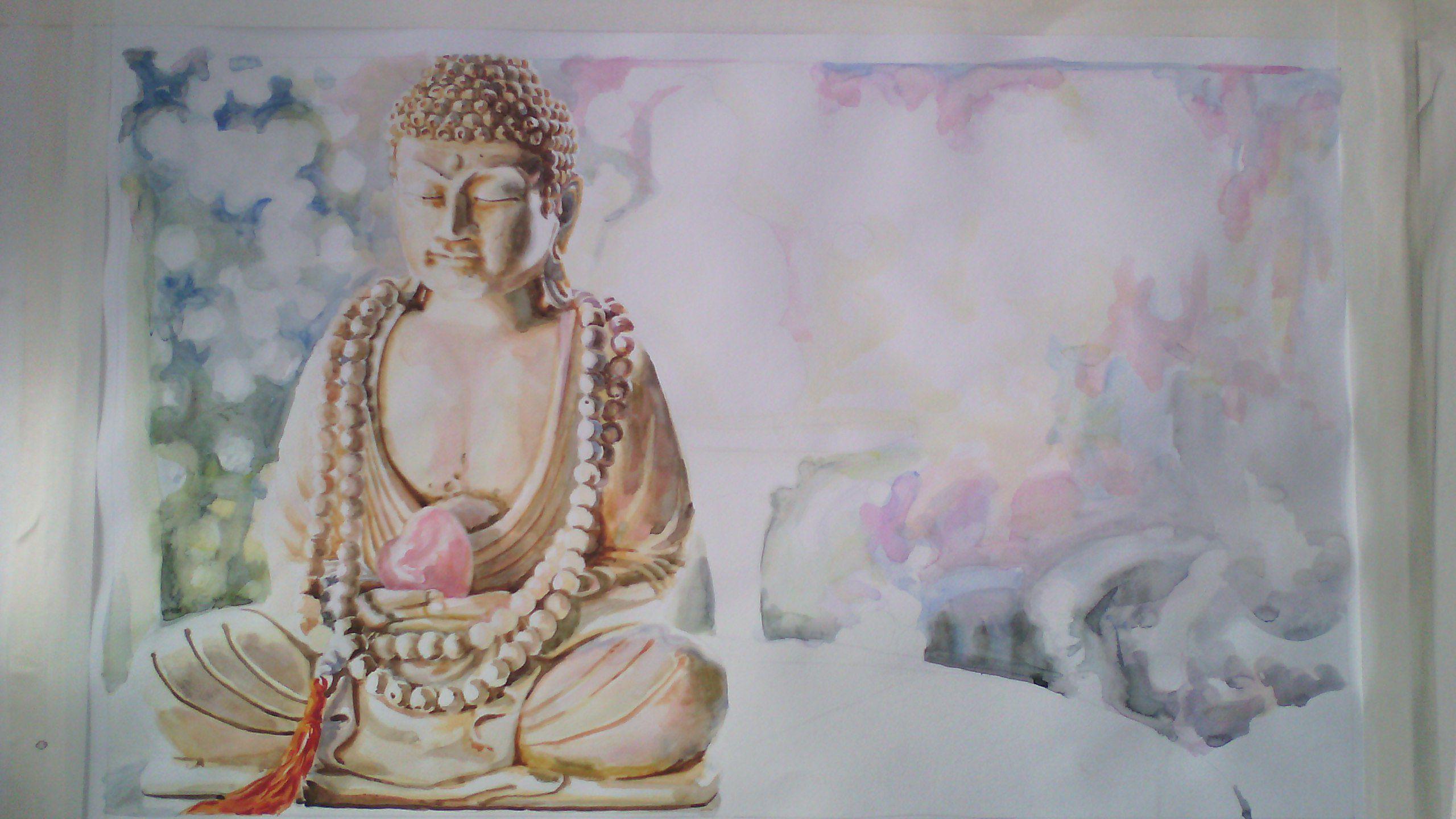 будда фон заказ розовый на сердечки живопись картины акварель подарки