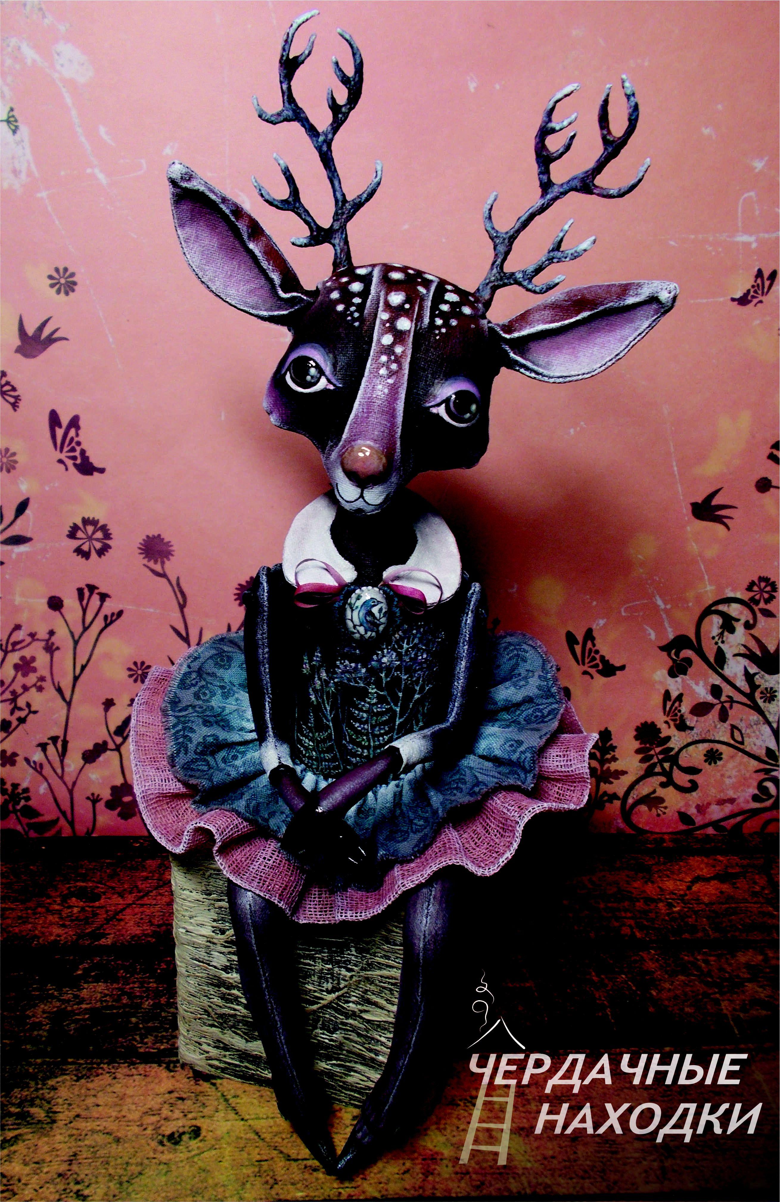 бязь handmade сувенир олень акрил подарок ручнаяработа