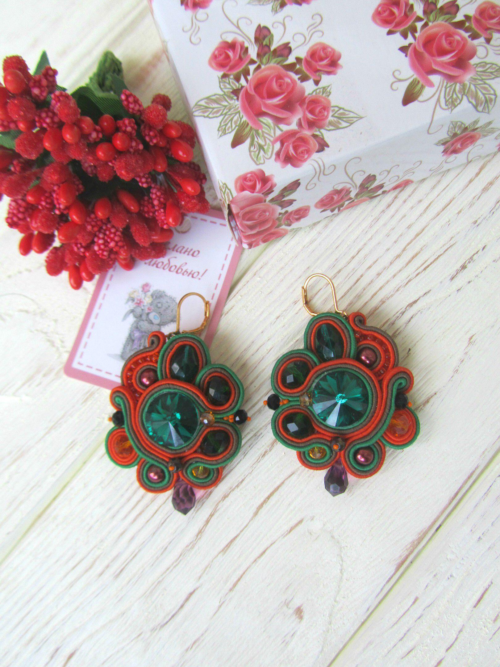 оранжевыесерьги необычныйподарок красивыесерьги swarovski эксклюзивныеукрашения модныеукрашения подарокдевушке сутажныесерьги крупныесерьги стильныесерьги зеленыесерьги