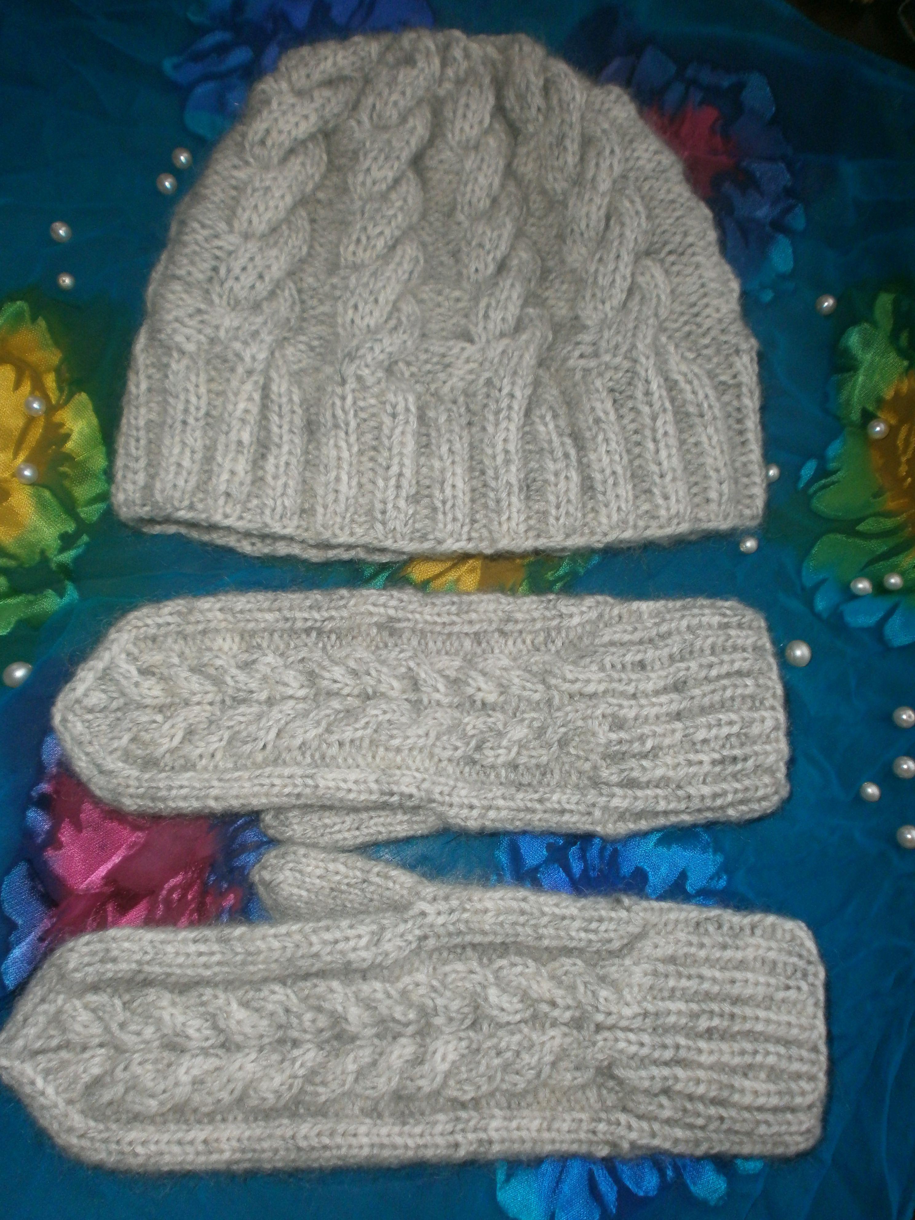варежки женский комплект шапочка