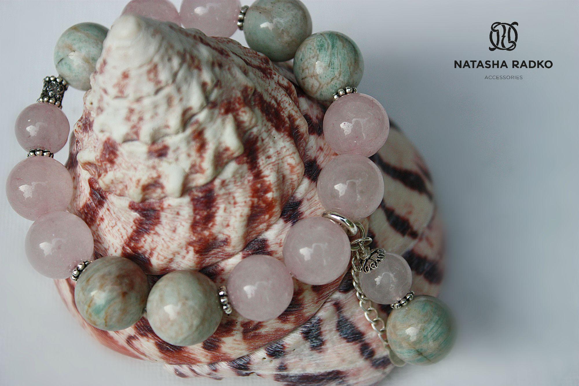 подарок браслет кварц розовый украшение серебро камни амазонит натуральные