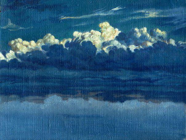 холст небо облака картина масло живопись