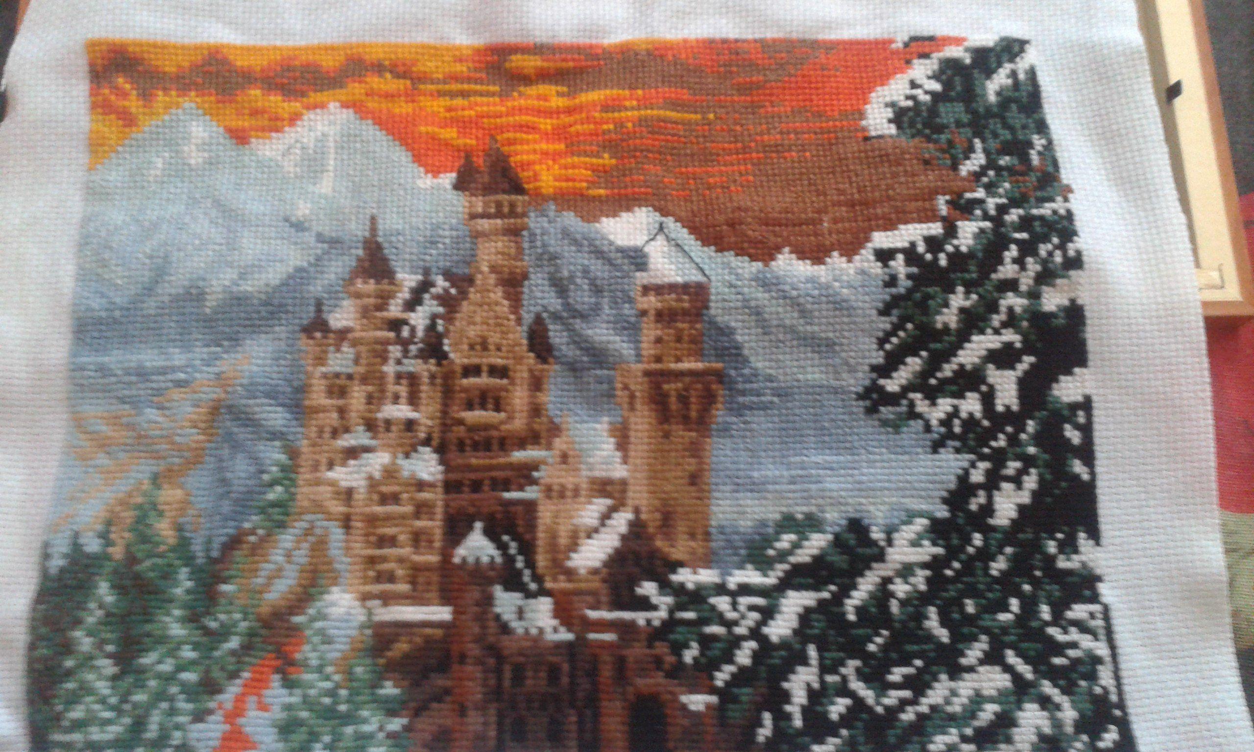 крестики закат мулине замок вышивка горы природа картина