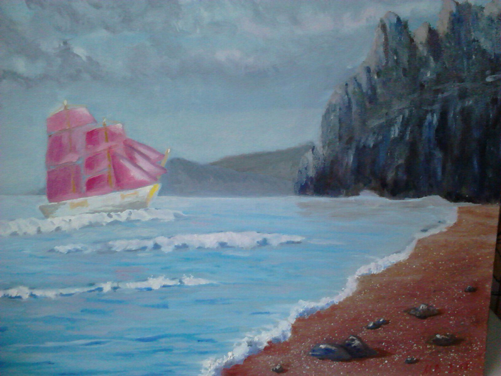 холст море картина масло берег скалы картина_маслом живопись парус