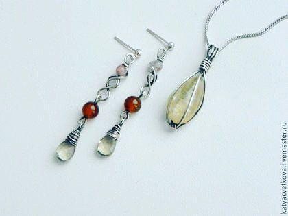 серьги комплектукрашений серебро handmade wirewrap cvetkova