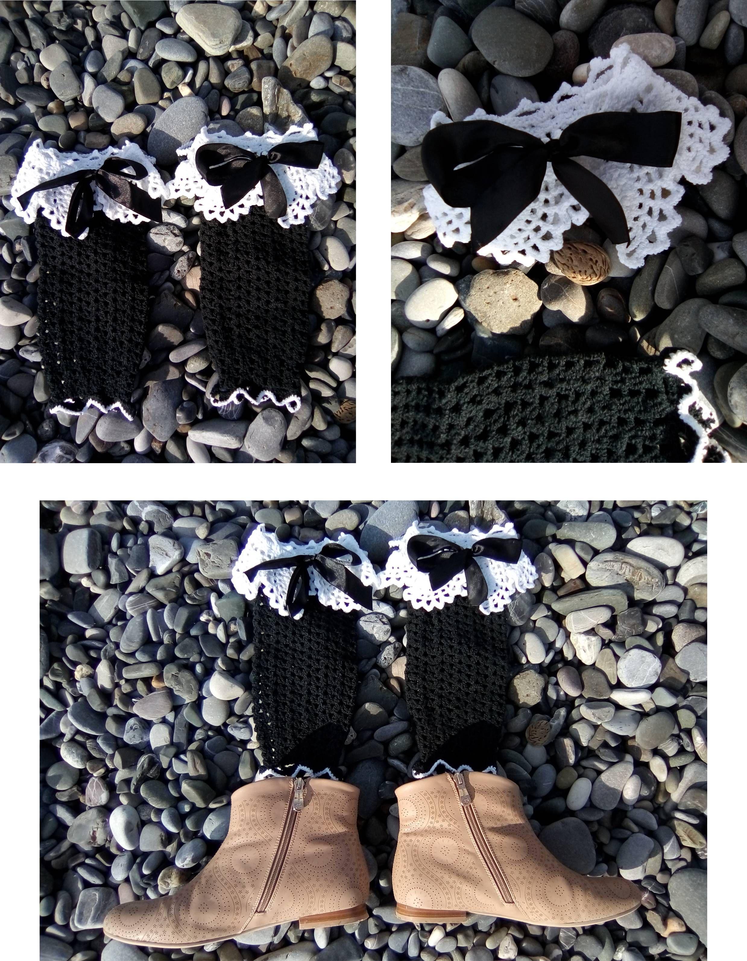 стрейч крючком ажурные гетры летние женские черные белые вязаные