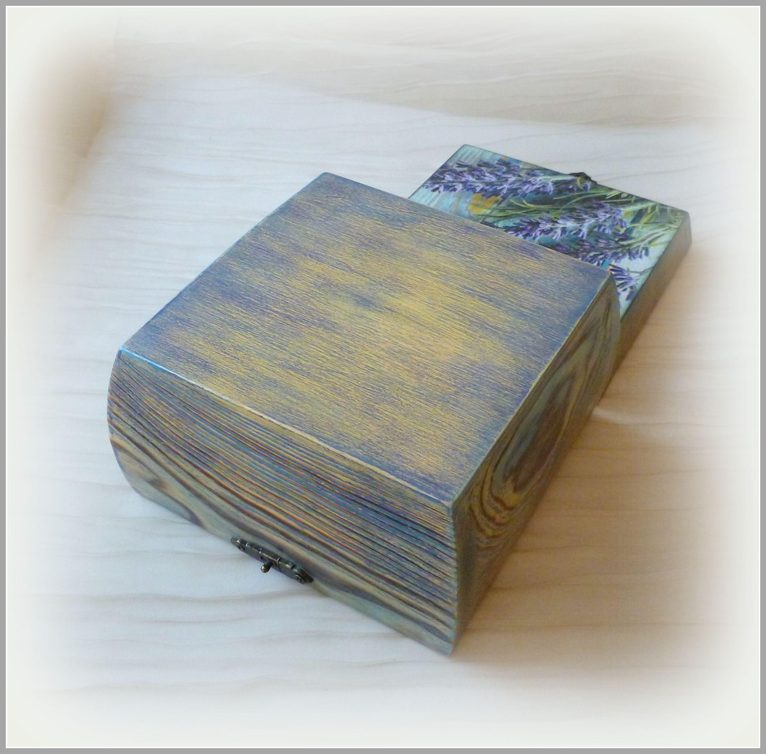 шкатулкадекупаж бирюзовый прованс сиреневый коробка шкатулка лаванда шкатулкадлямелочей сундучок сундук дляхранения шкатулкакупить деревяннаяшкатулка декупаж голубой фиолетовый эко дляукрашений короб