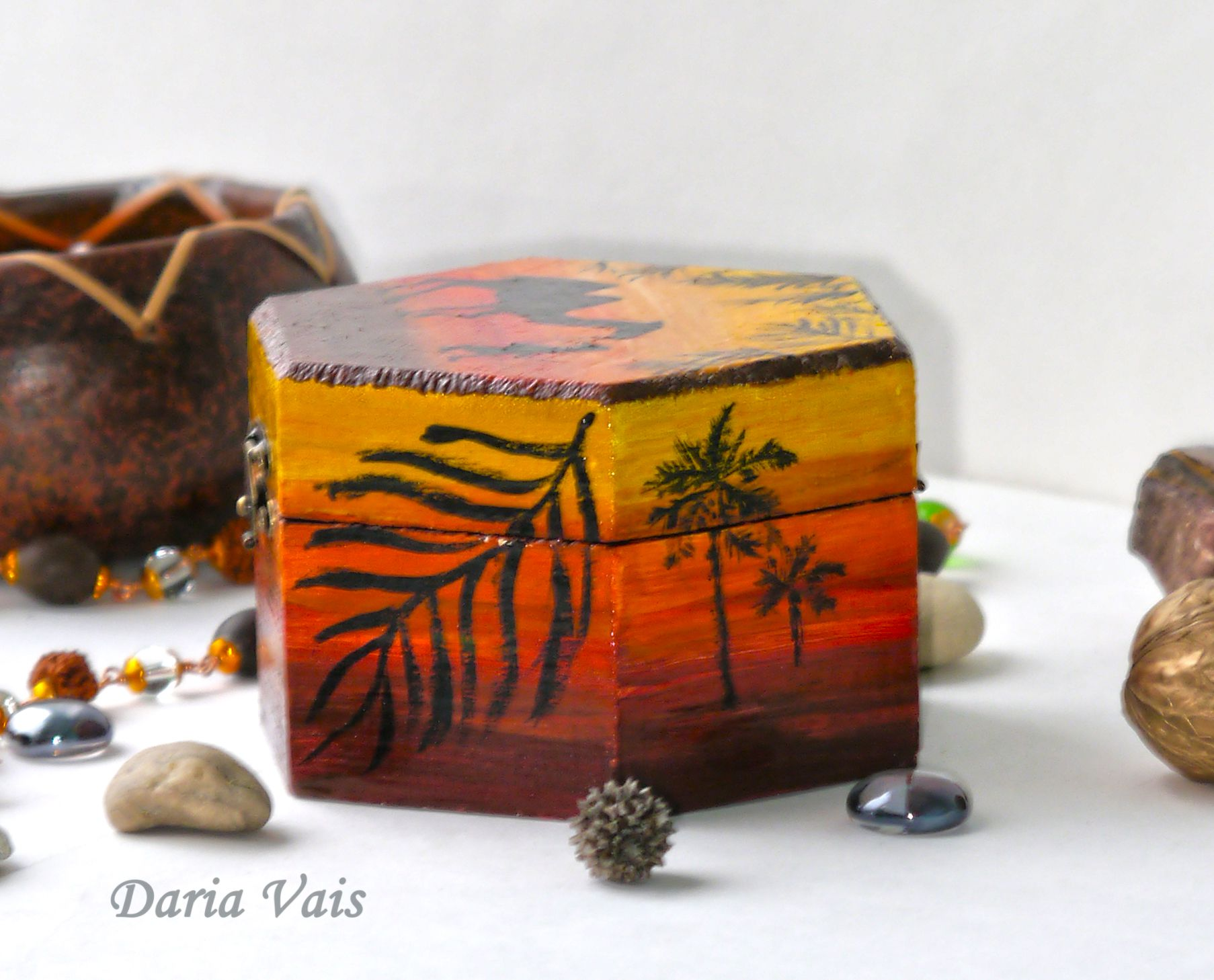 подарок этно хранение интерьер шкатулка пустыня роспись африка