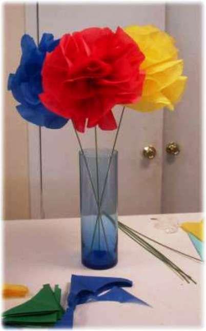 Цветы из гофрированной бумаги быстро и легко