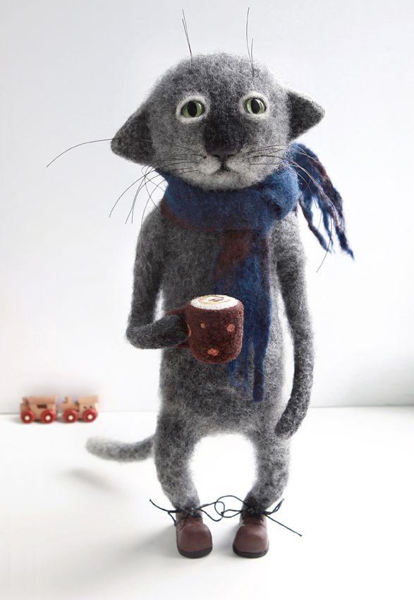 ручнаяработа валяние игрушка купить шерсь кот