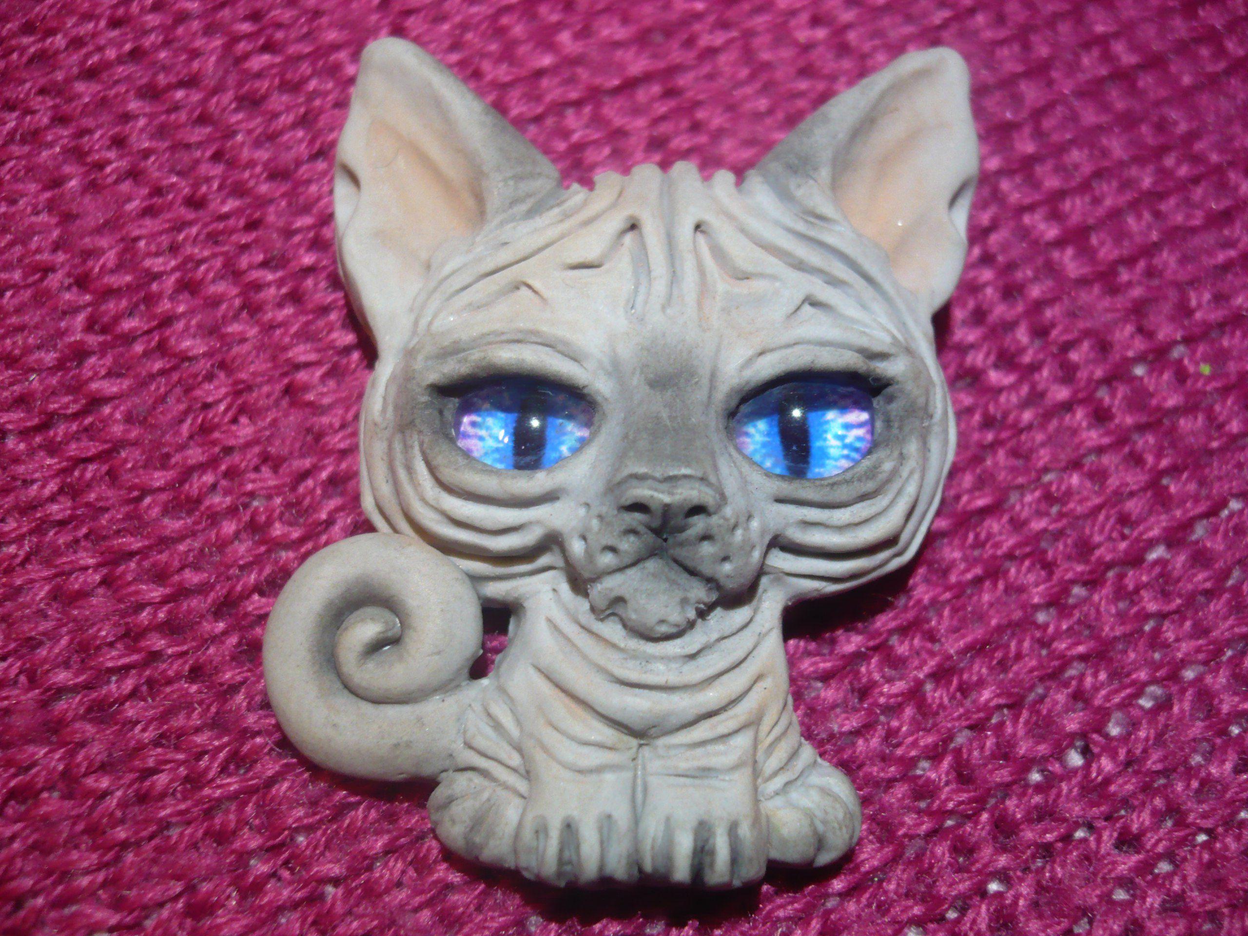 пластика полимерная брошь кот сфинкс
