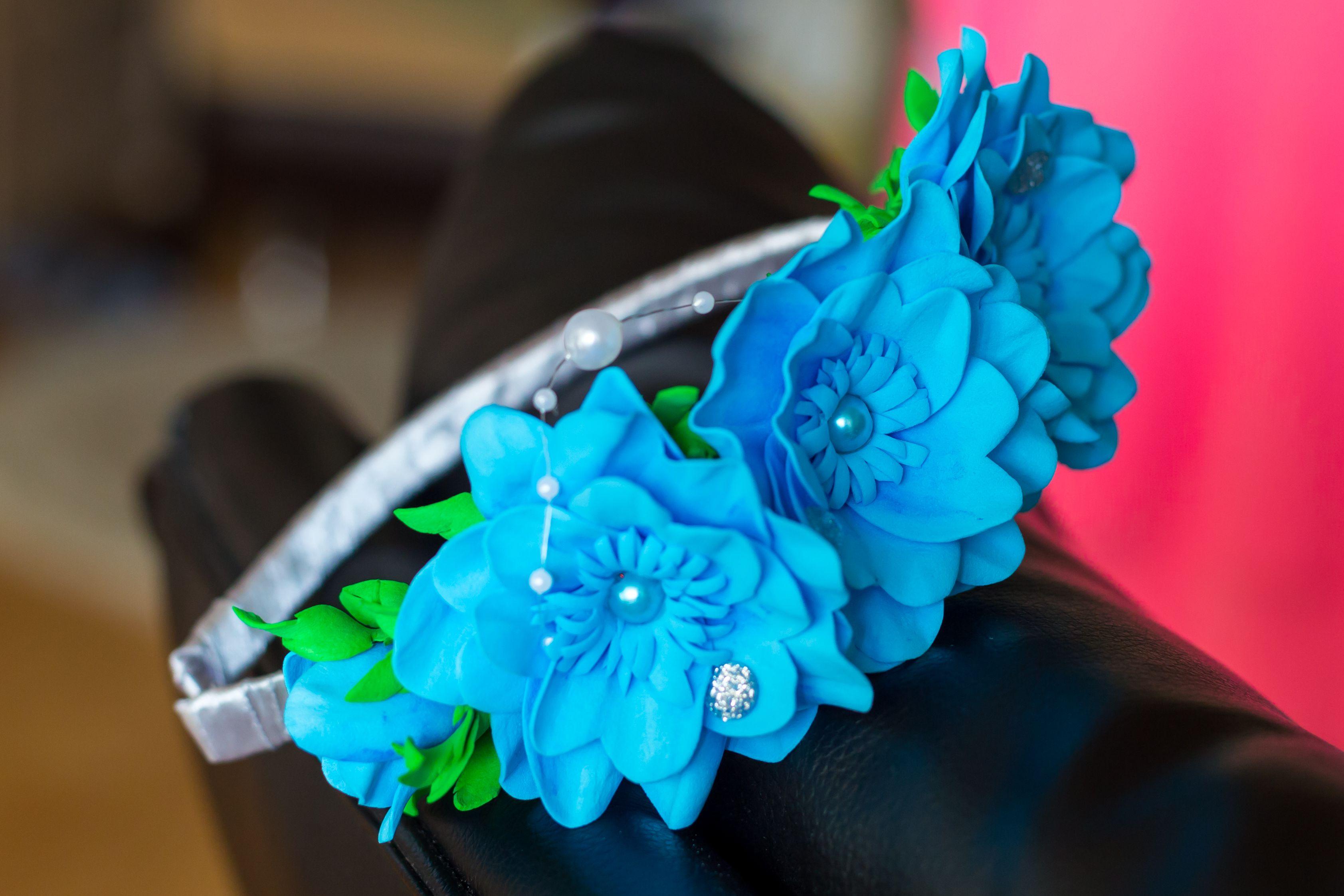 обруч девочке красивый фоамиран ободок синий цветы атлас