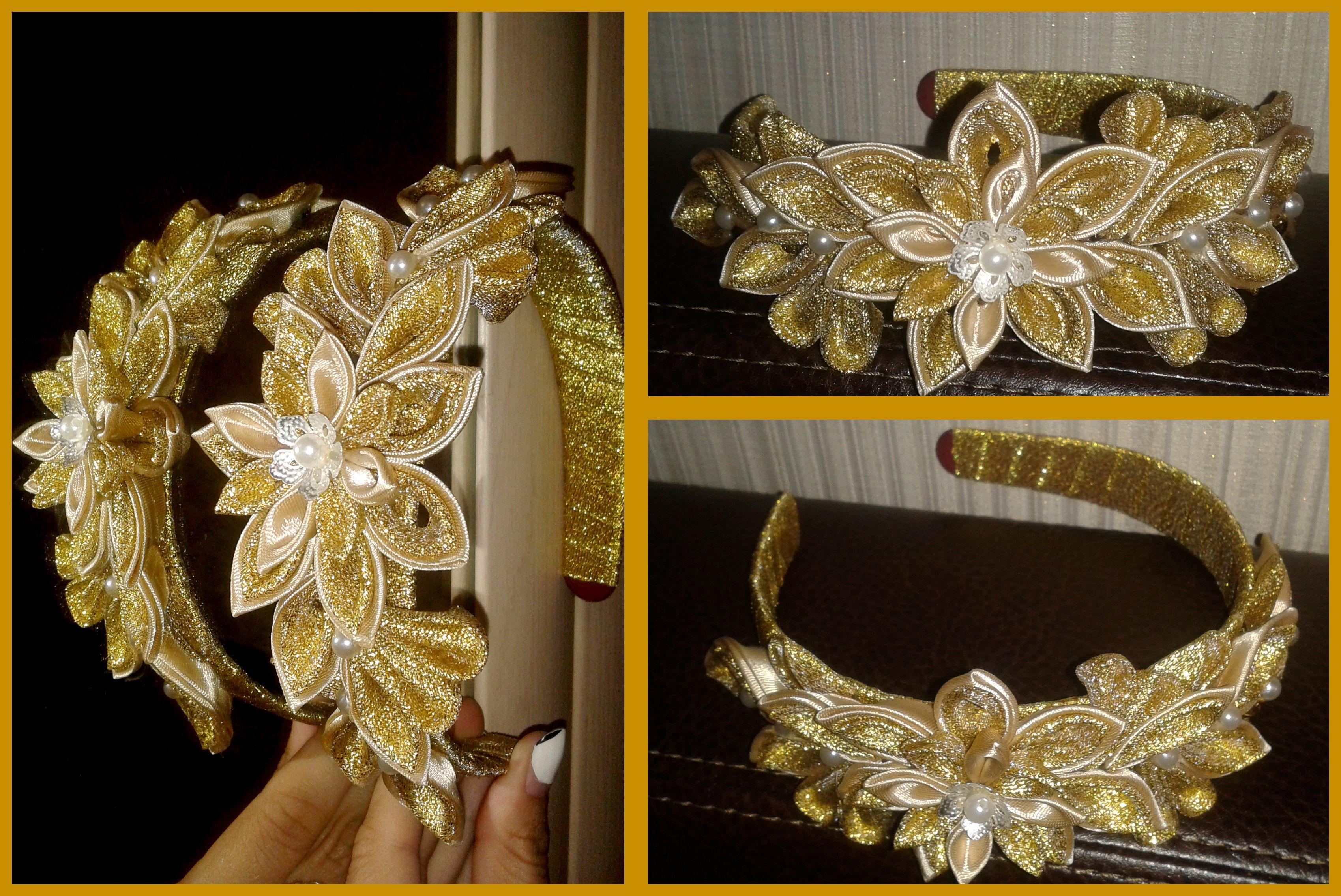 красивый парча золотой ободок атлас обруч канзаши цветы