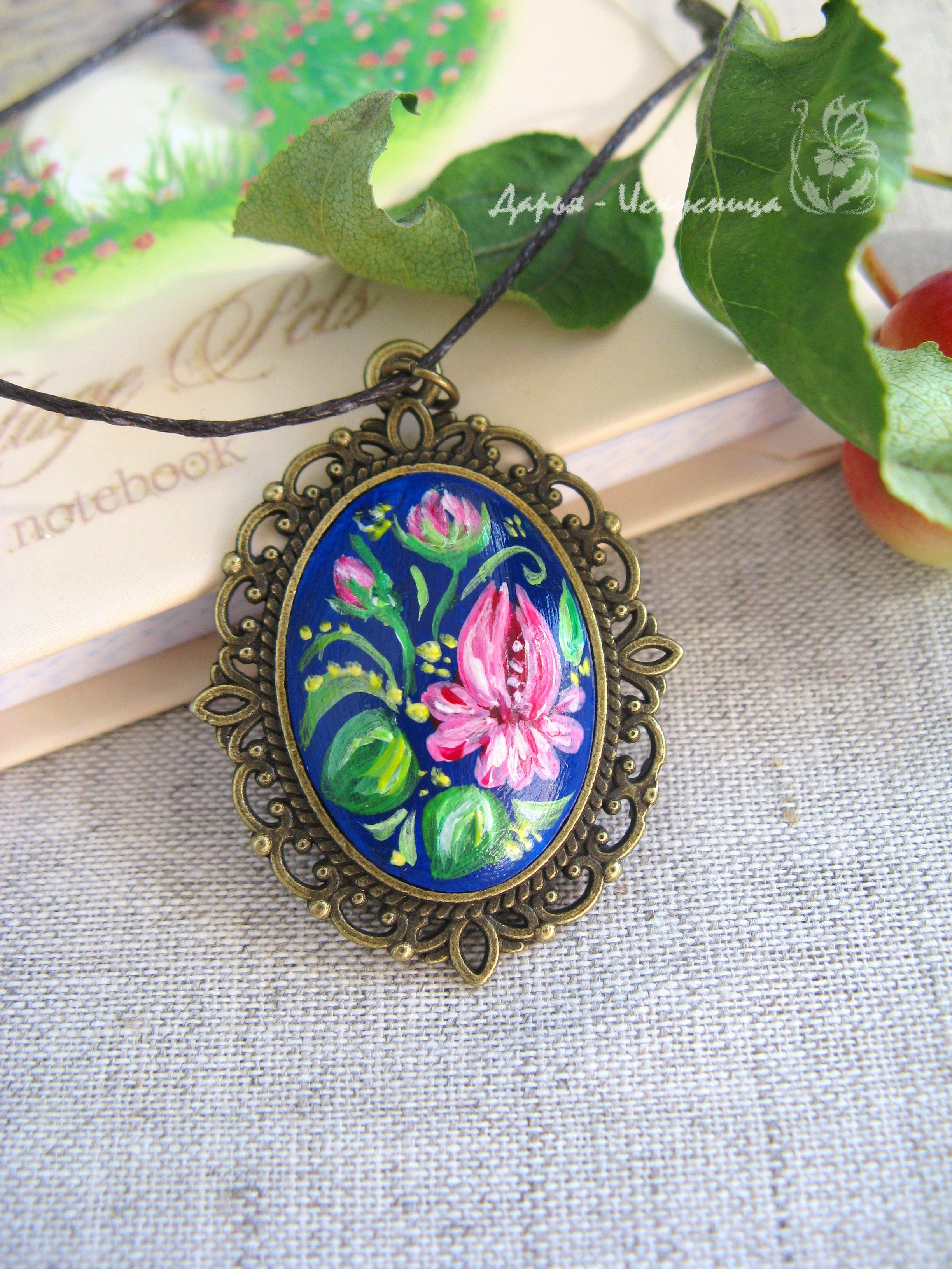 ручнаяработа кулон роспись handmade украшения цветы подарки девушкам