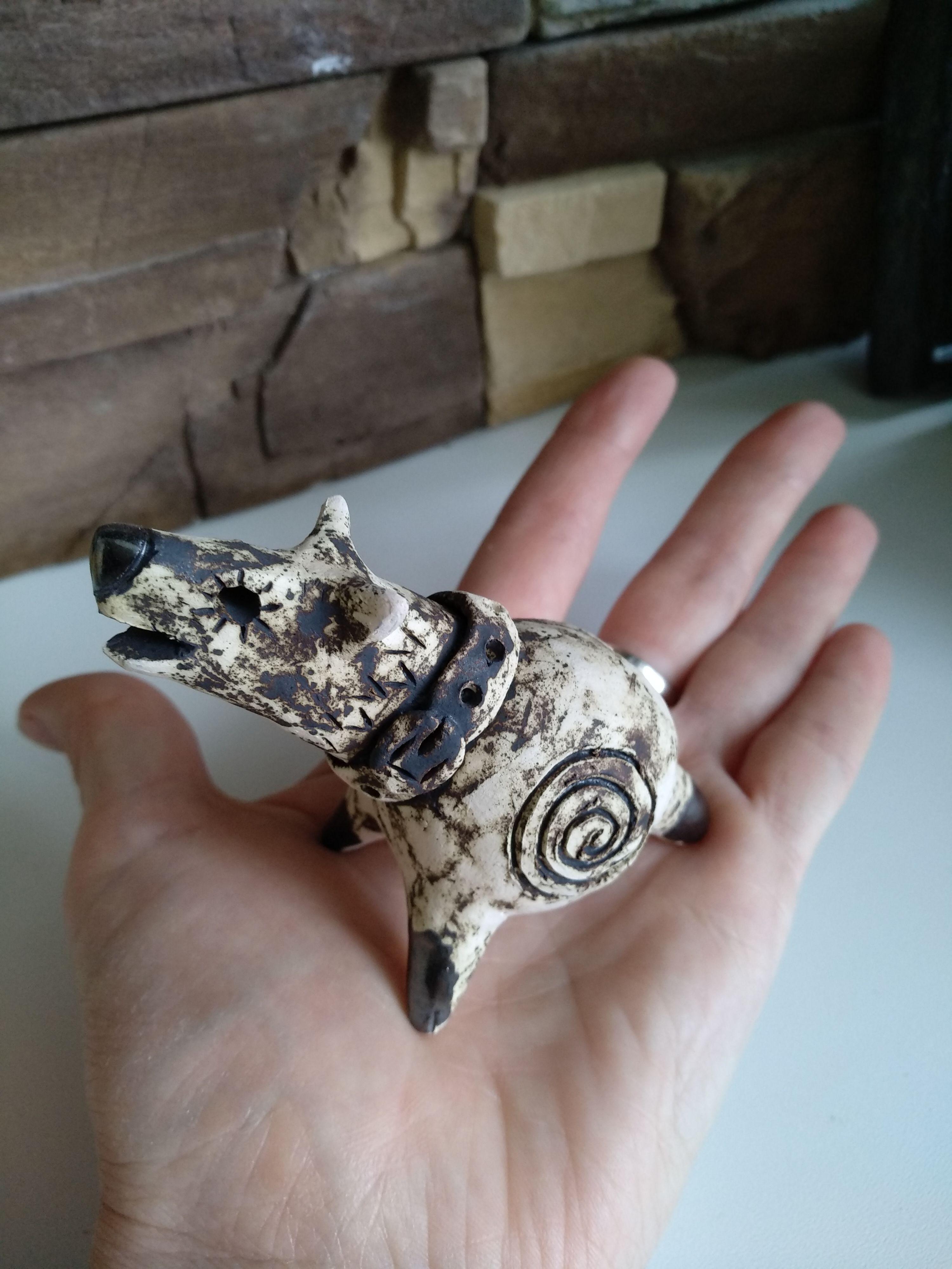 подарки керамика сувенир новыйгод свистулька собака 2018 волк
