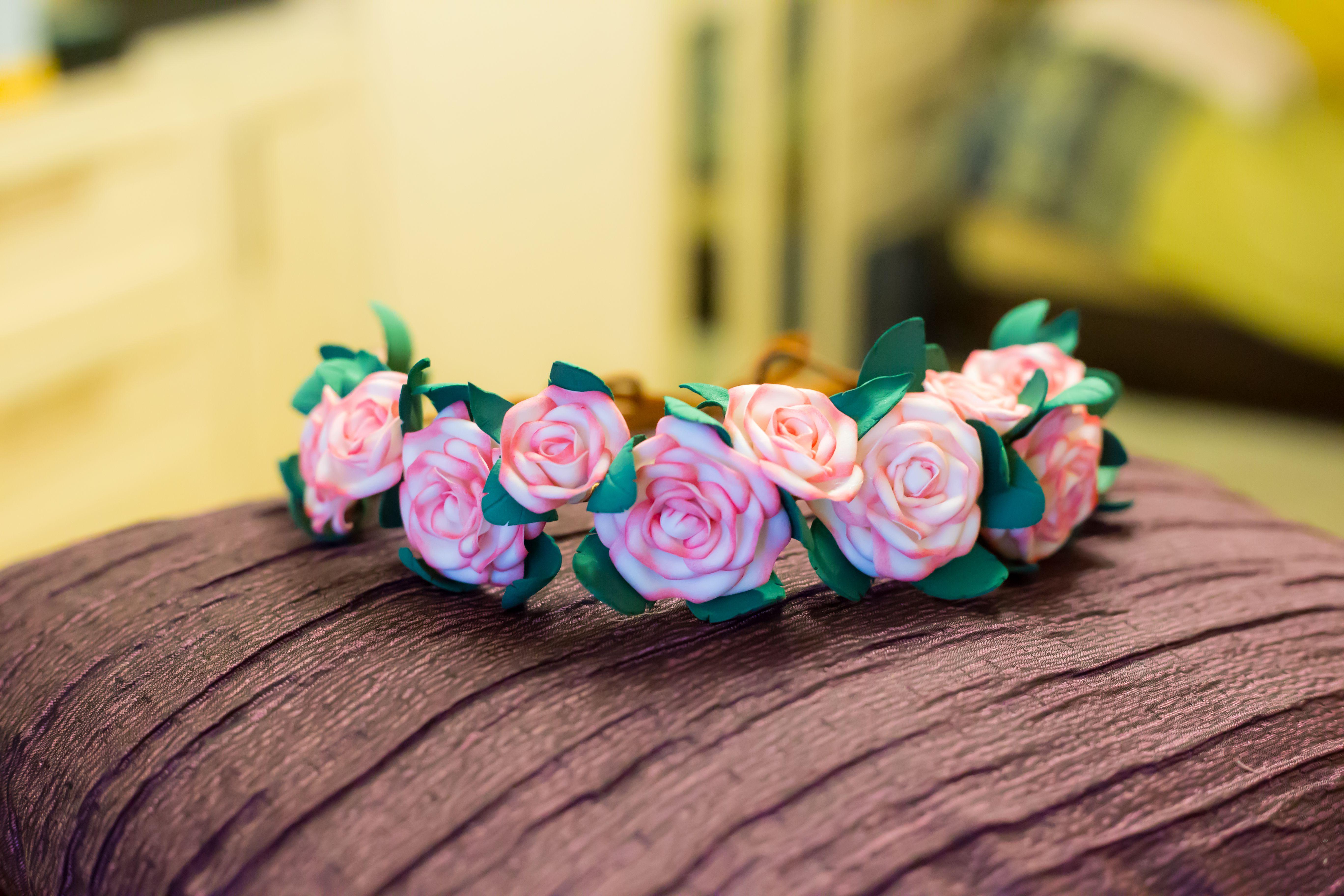 нежный красивый фоамиран розы свадебный белый венок цветы атлас