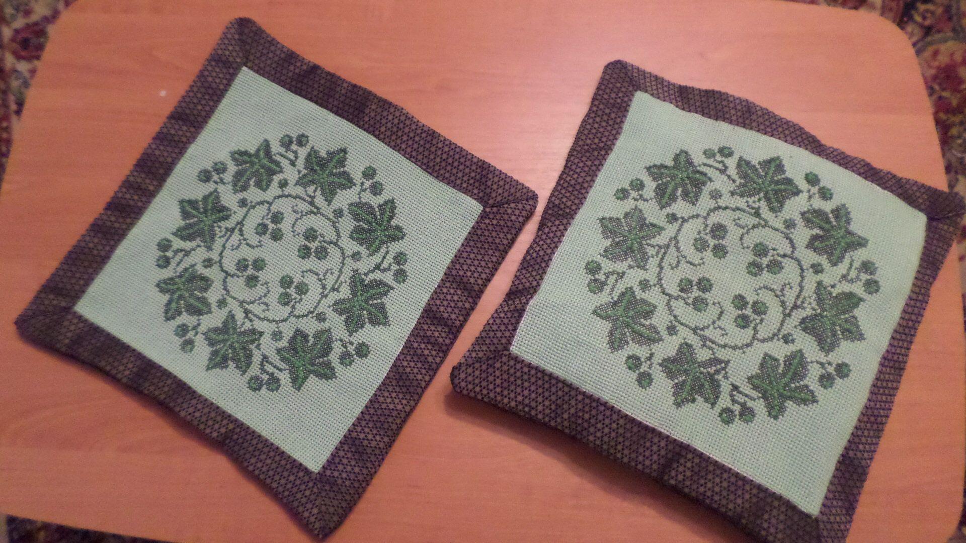 наволочка подушка плющ вышивка