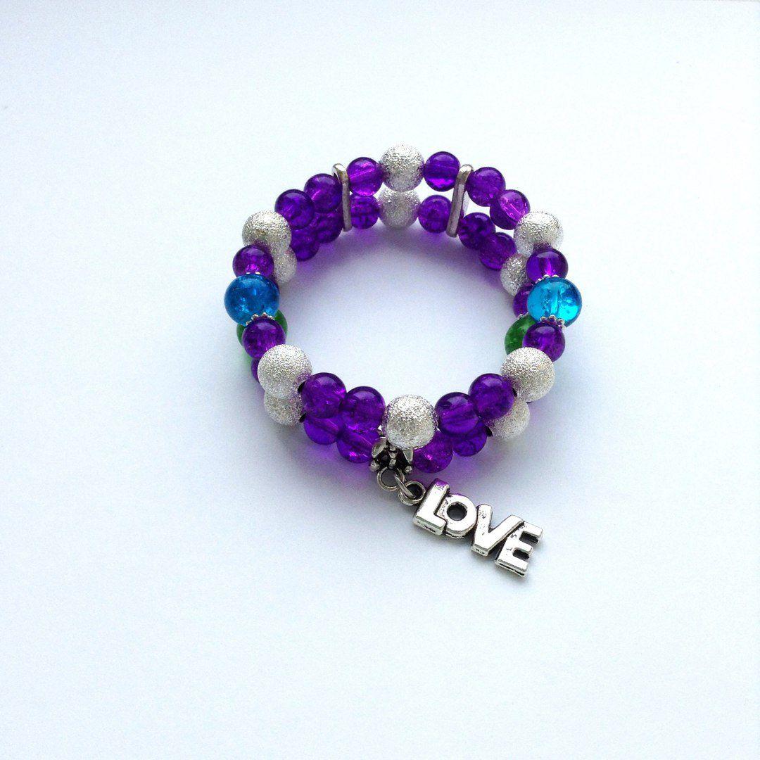 браслет двойной бусины handmade фиолетовый украшения крючком бижутерия