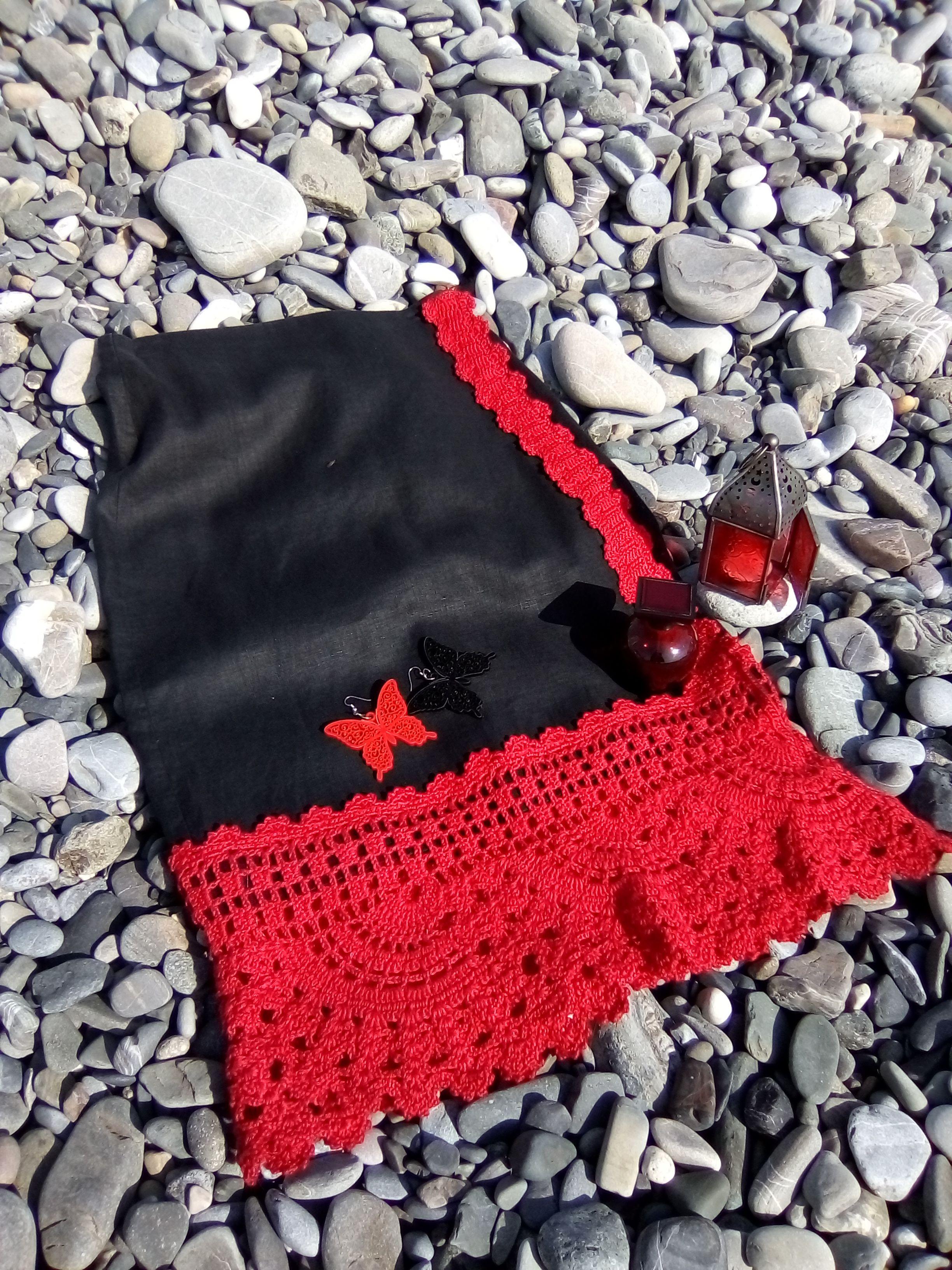 юбка лен вязаная вязаное красное красная ткань льняная ручная запахом черная работа кружево