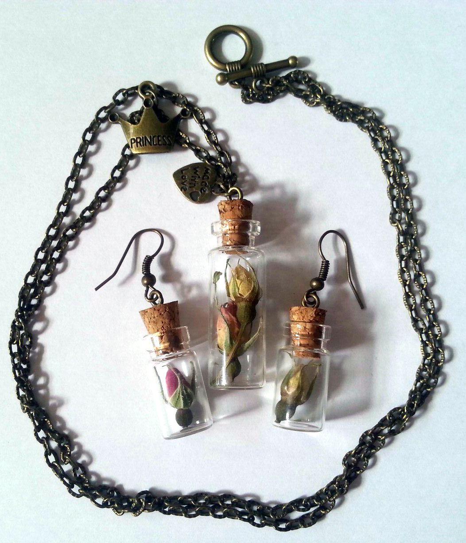 античная бронза украшение серьги подвеска баночки ручная розы работа бутылочки девушке кулон сухоцветы подарок