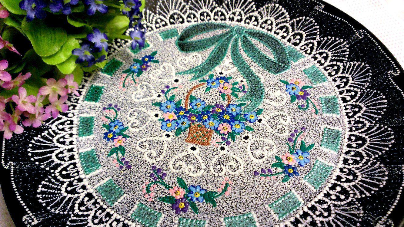 точечнаяроспись handmade декор пасха кружево незабудки тарелка декоративнаятарелка ручнаяработа подарок