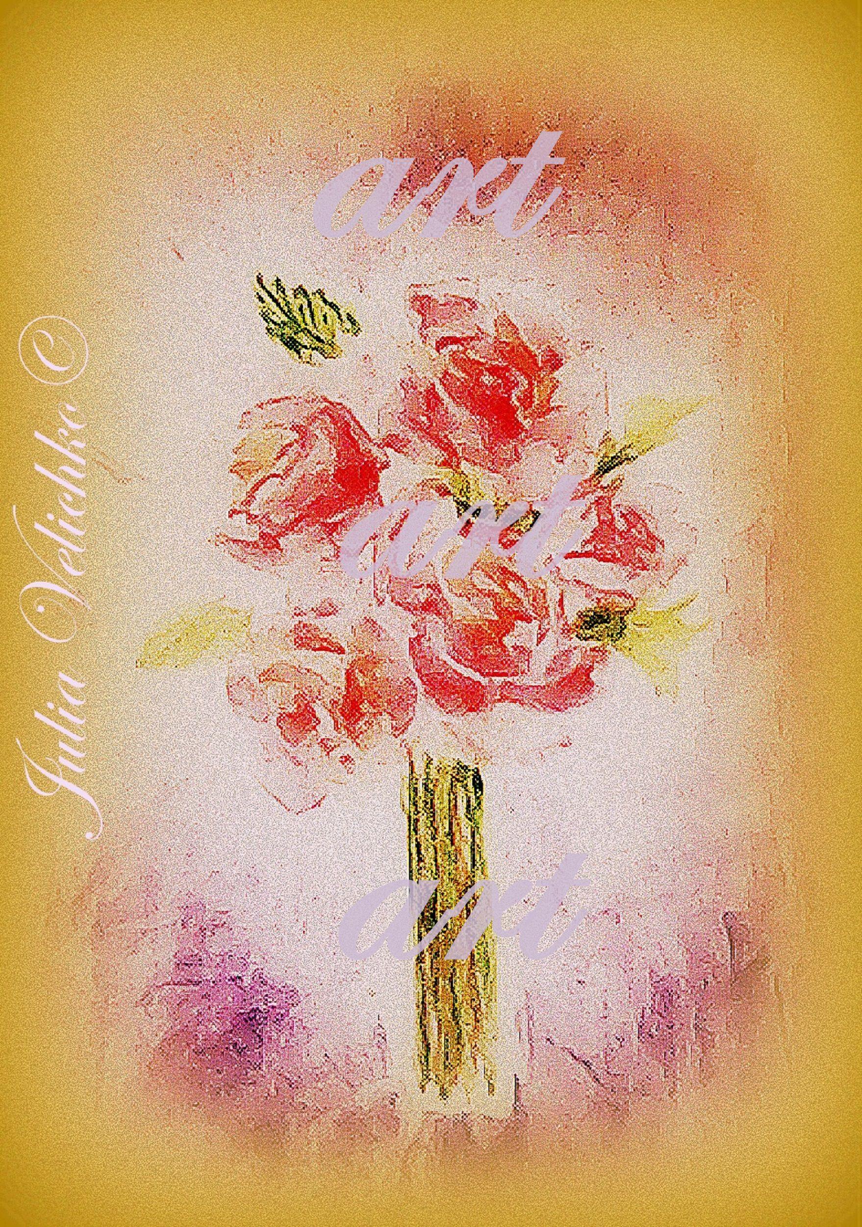 работа ручная букет розы акварель цветы