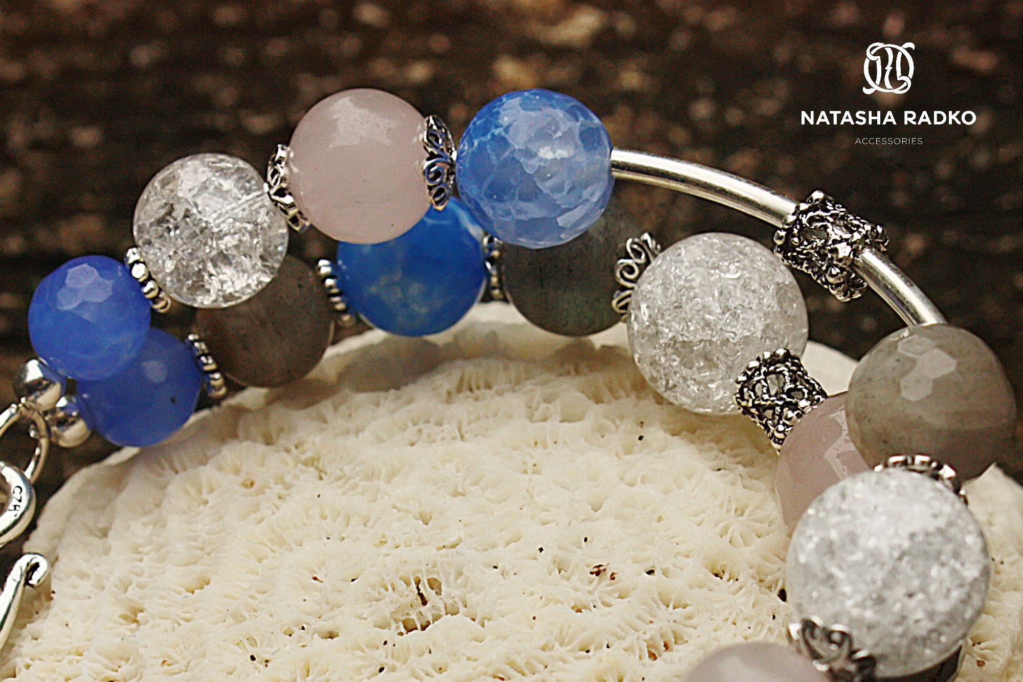 лабрадор украшение браслет агат натуральные серебро камни кварц подарок