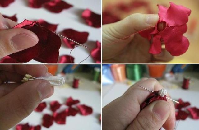 Цветы из атласных лент своими руками 7