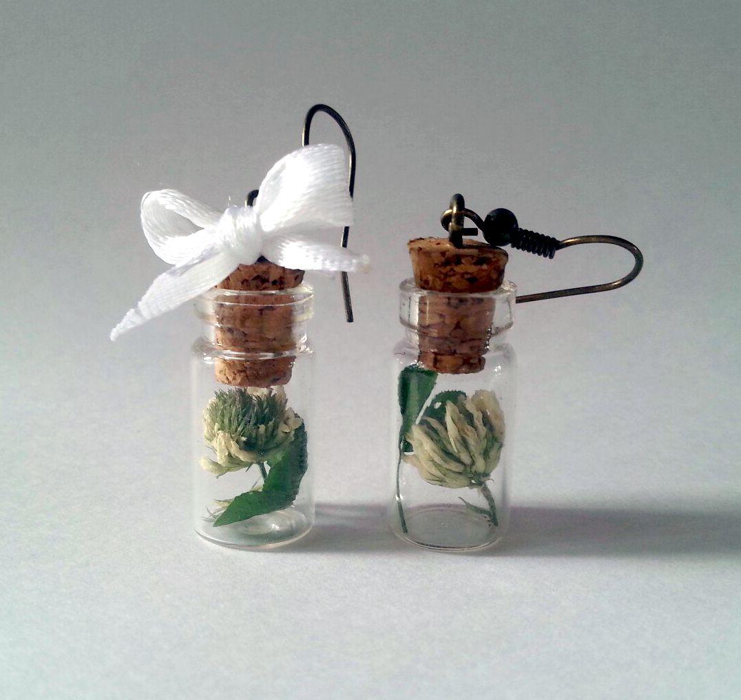 клевер античная бронза украшение серьги баночки ручная работа бутылочки девушке сухоцветы подарок