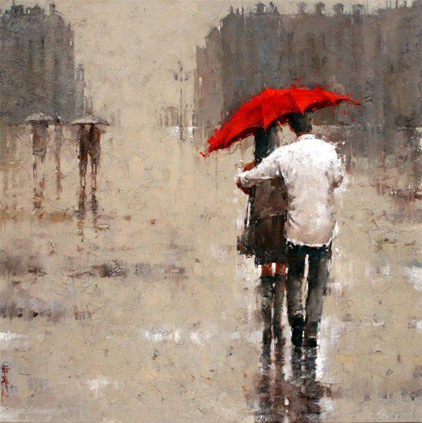 Днем, открытки двое под дождем