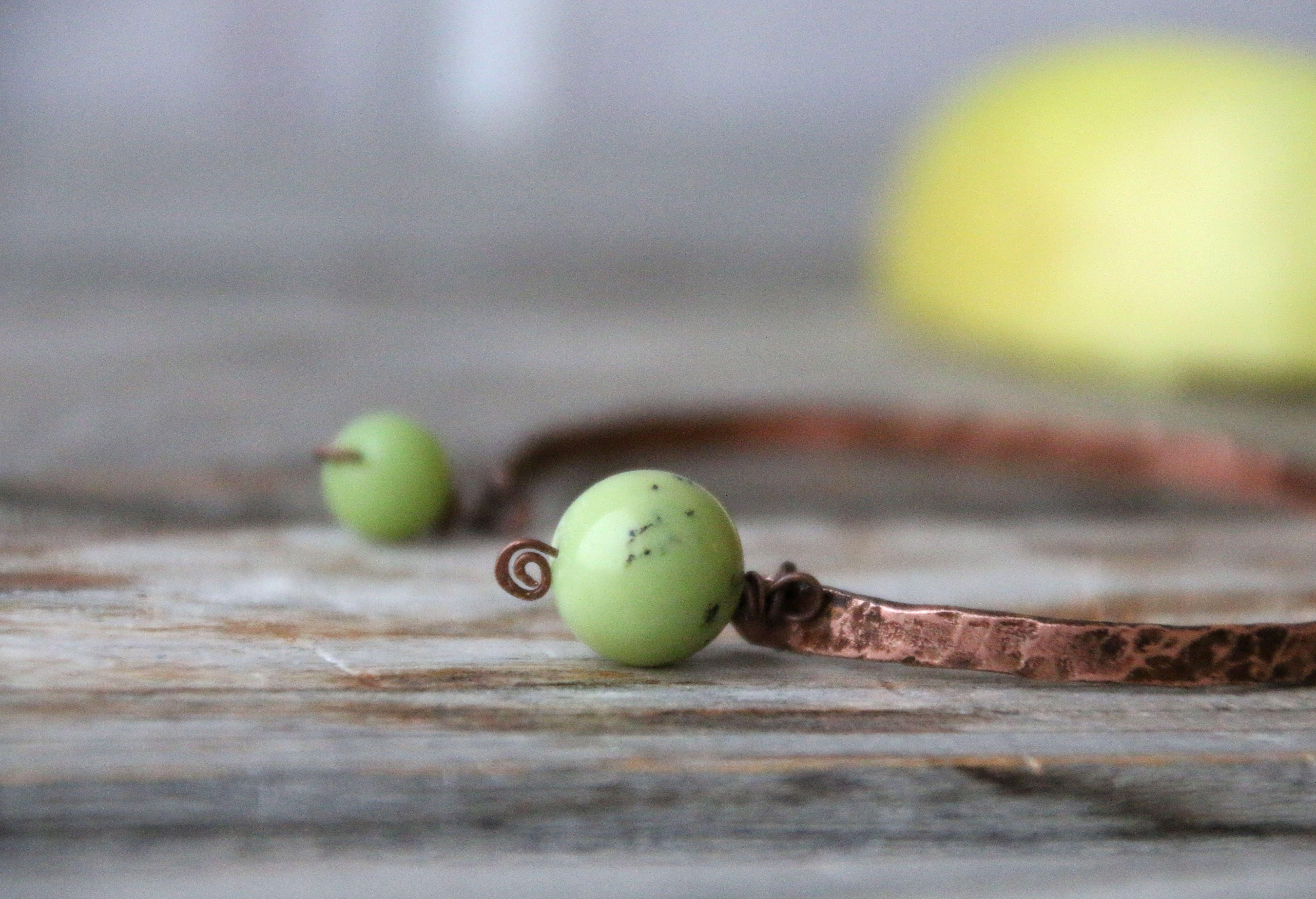 тонкий яблочный минимализм патина природный браслет натуральные медный бохо зеленый