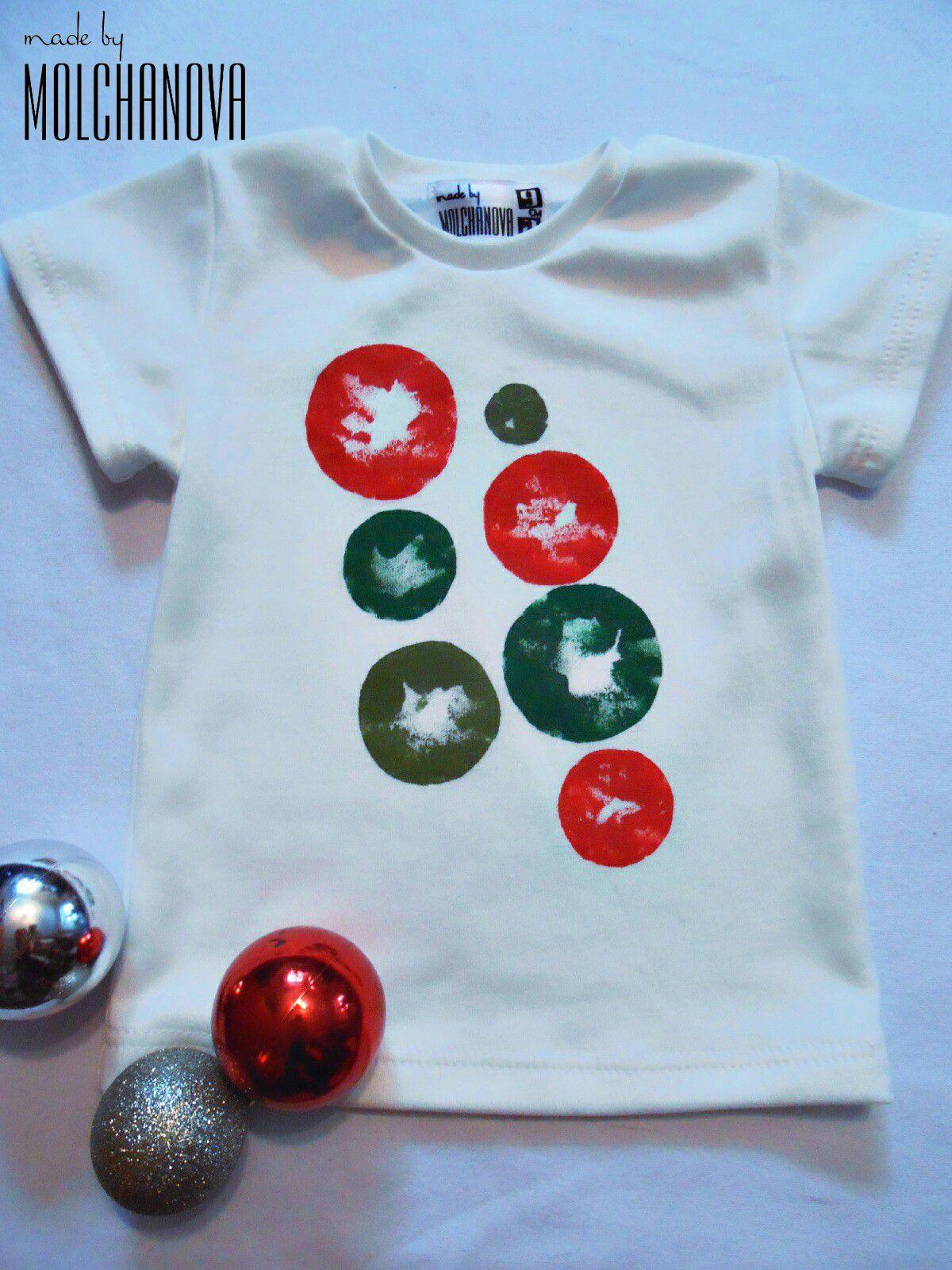 для футболка ручная детей работа принт новогодний