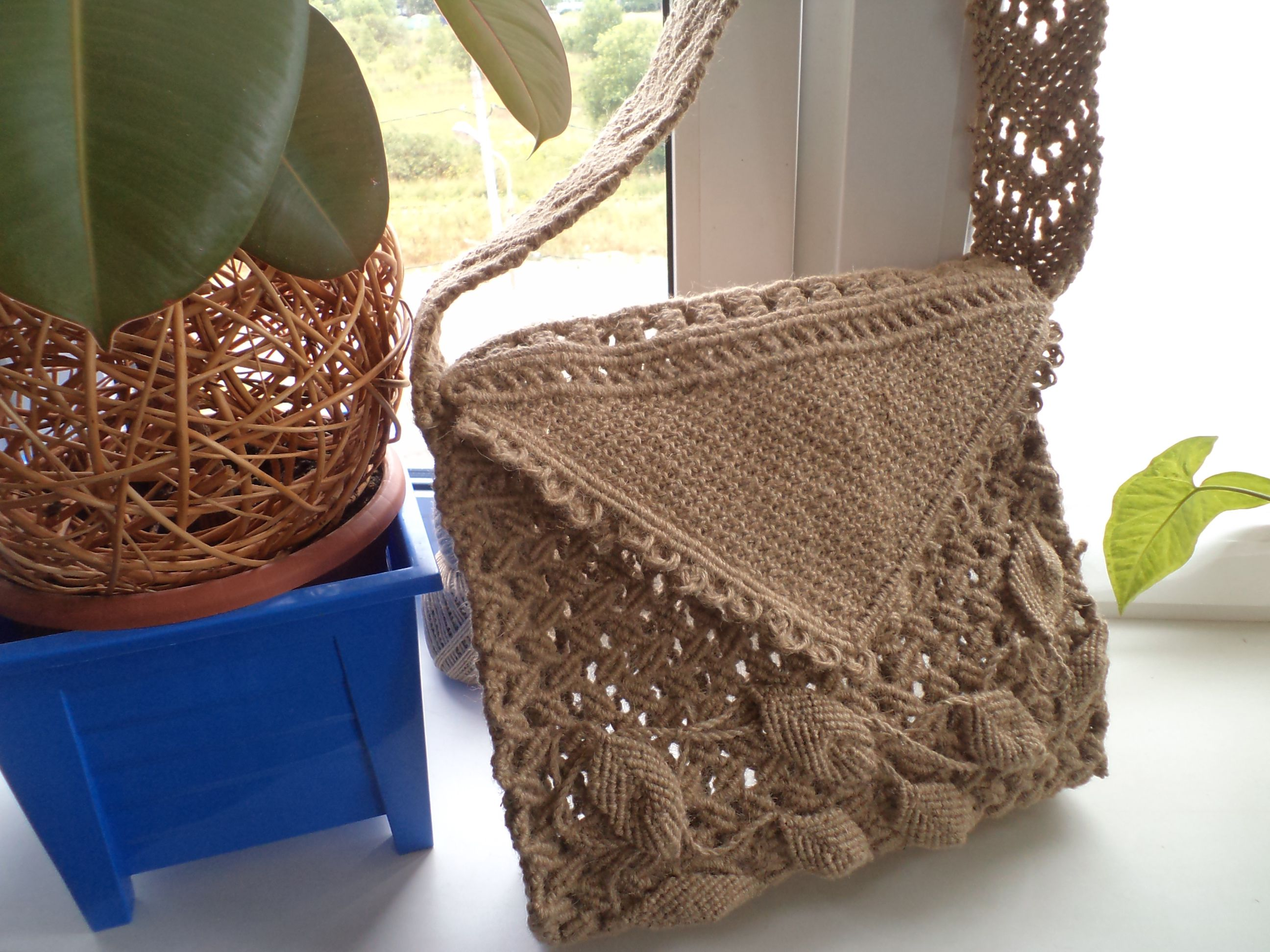 льняная макрамесумка плетенка этно сумка стиль плетеная бохо