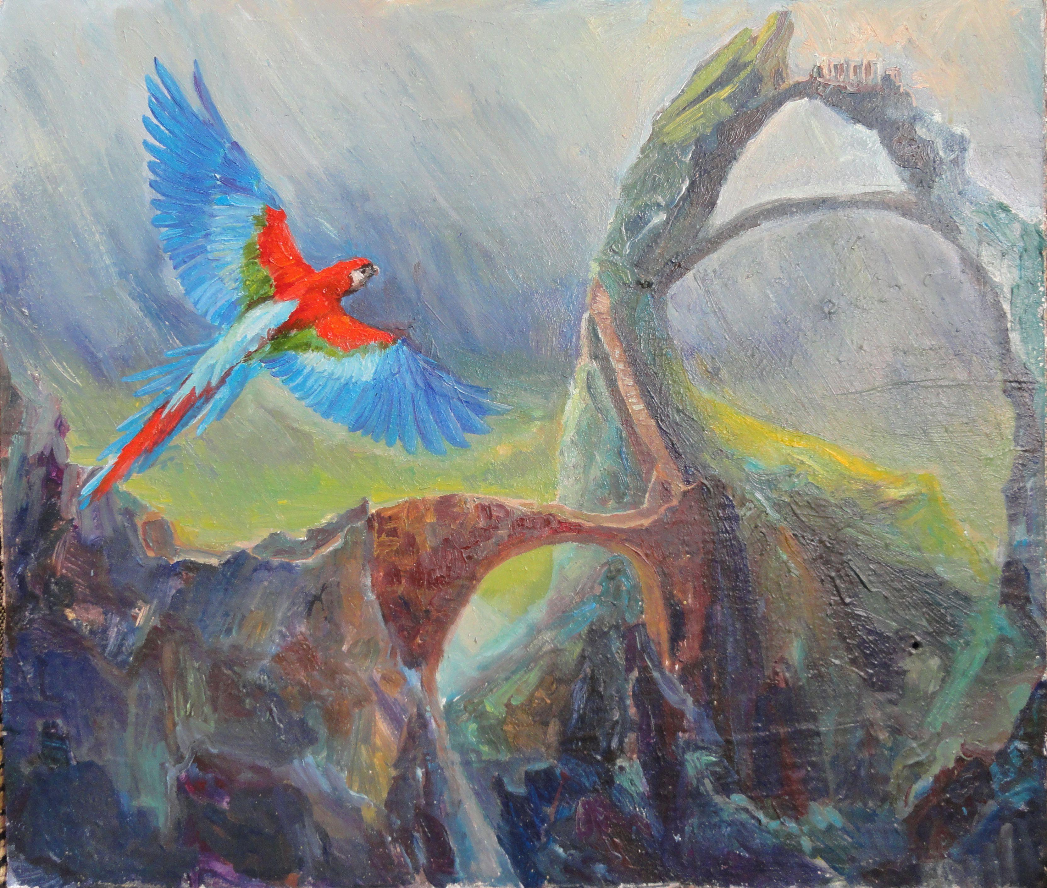 арт масло новое живопись настроение попугай пейзаж искусство полёт красиво