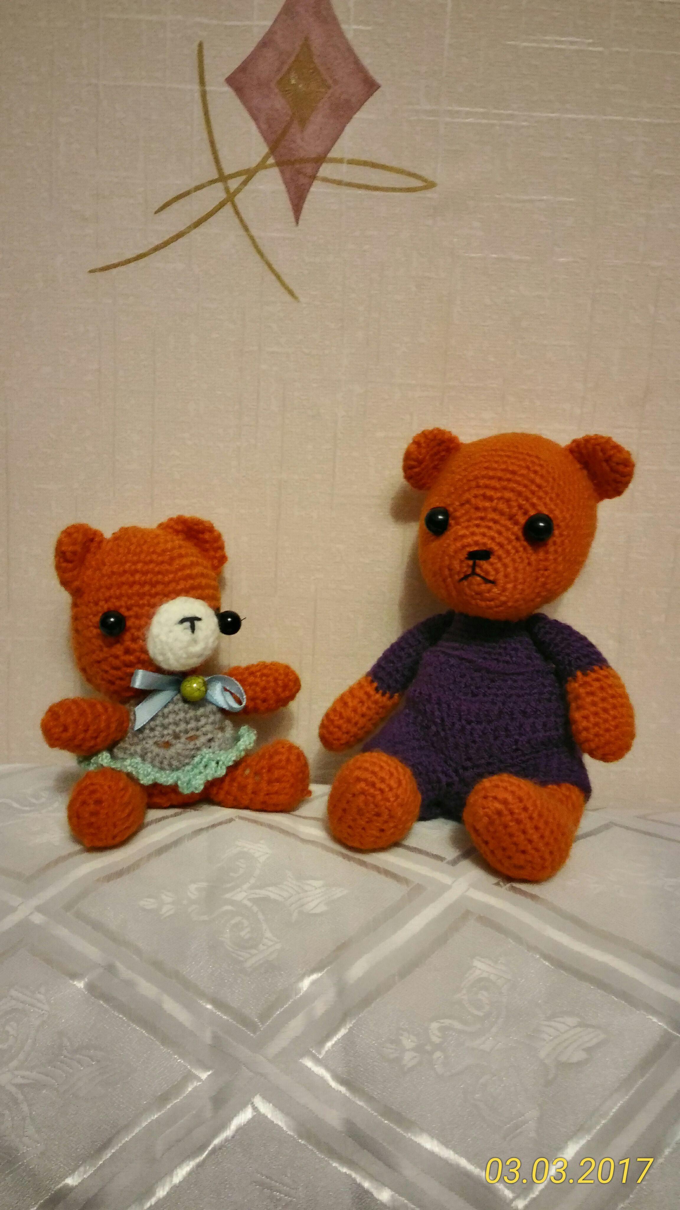 handmade вязание мишки ручная игрушки подарок работа крючок дети