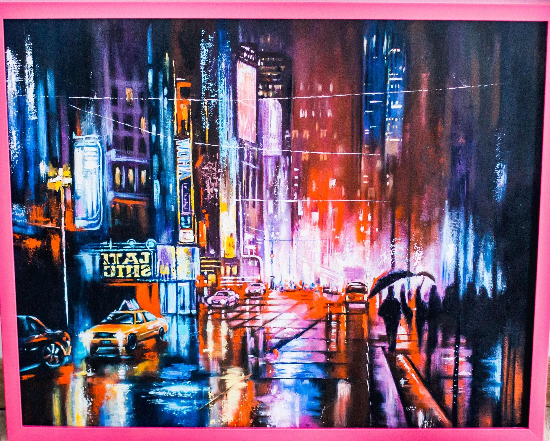 ночной маслом искусство город картина