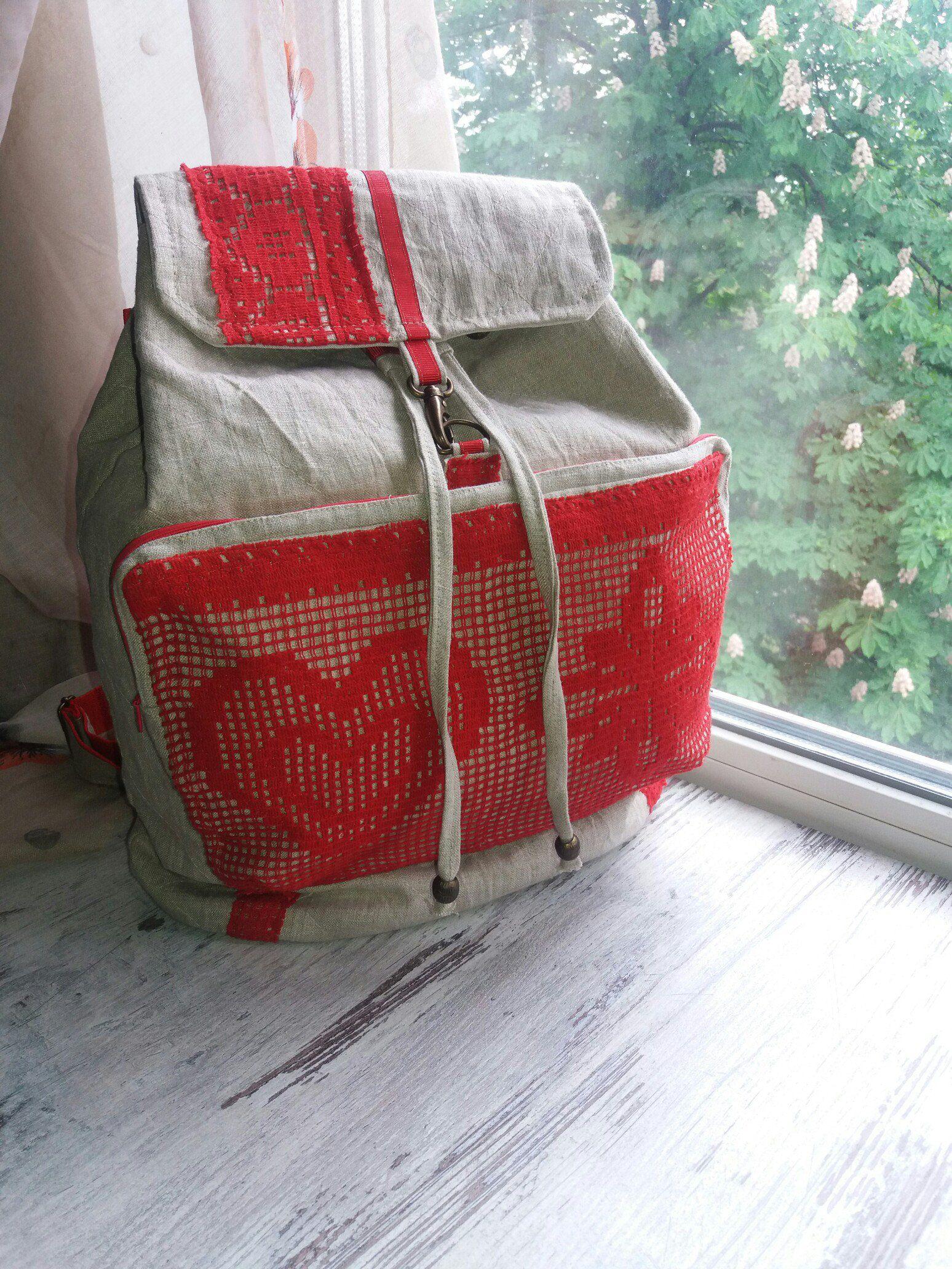 льняной женский рюкзак сумка этно